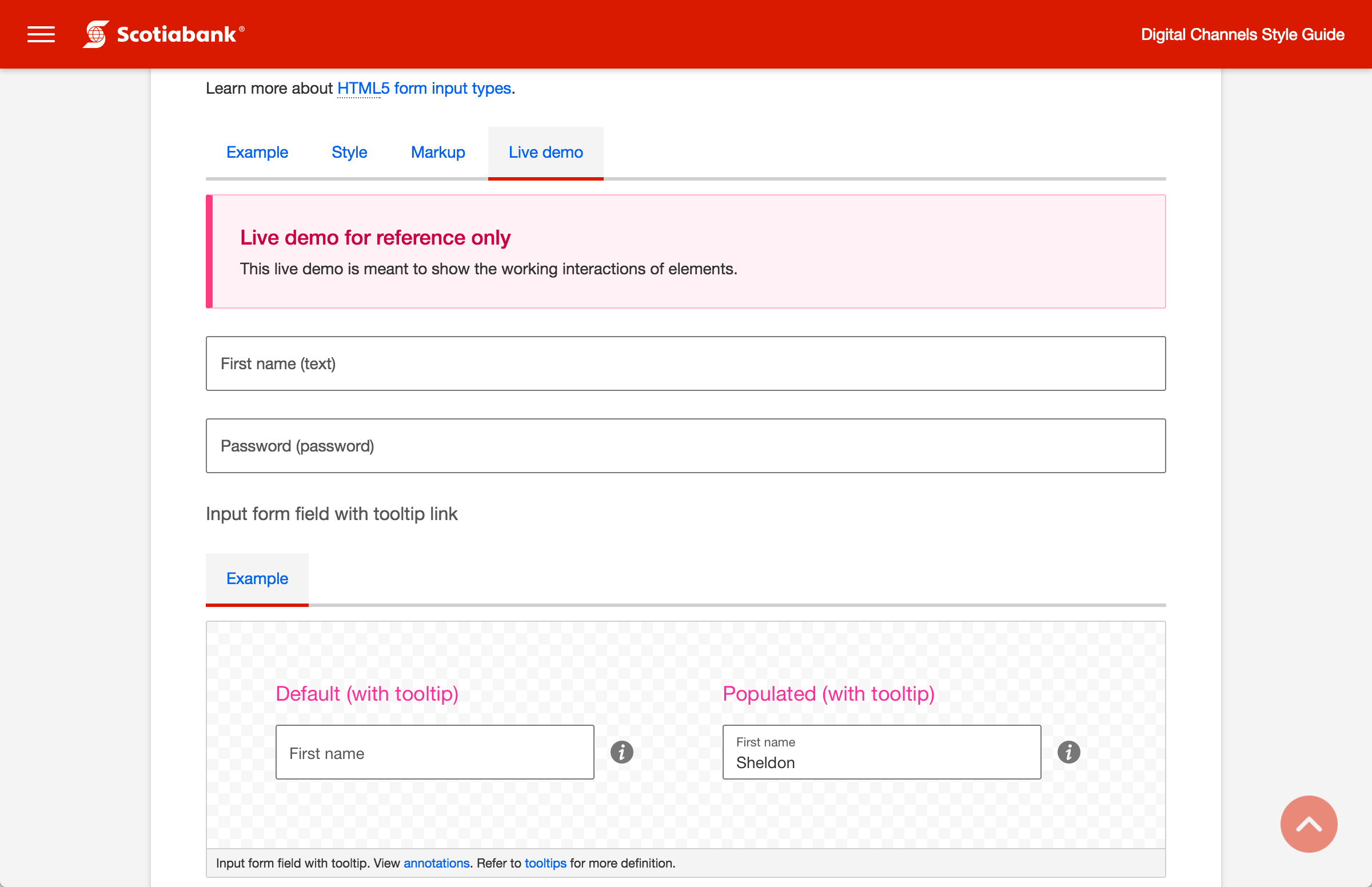 Screenshot of input form field (live)
