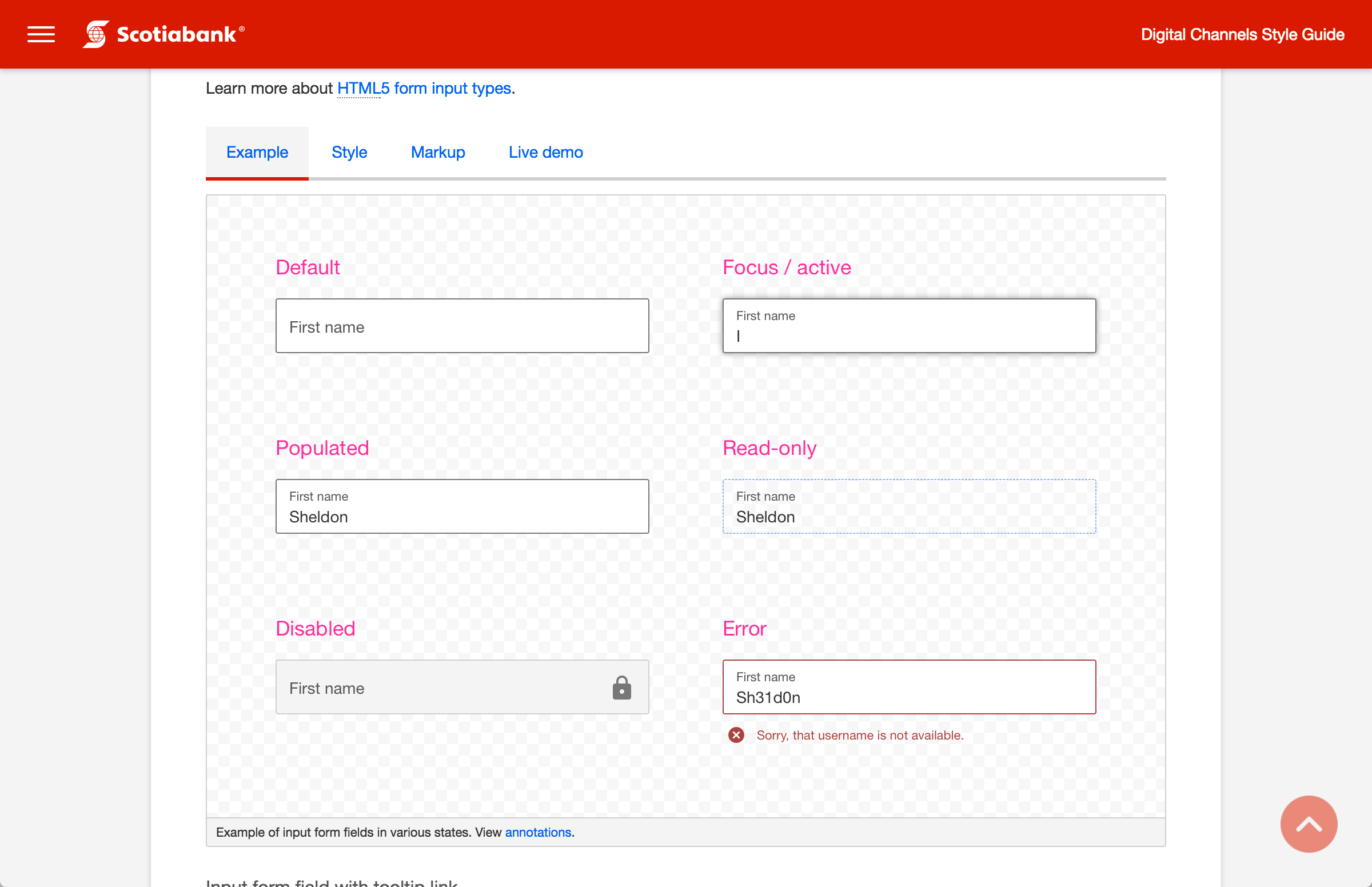 Screenshot of input form field